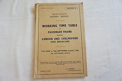 1956 Working Timetable Eastern Region Chelmsford London Sect N
