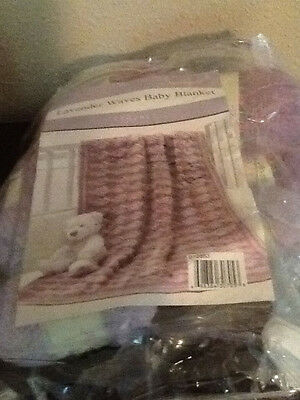 "NIP 'Lavender Waves' Baby Blanket Crochet Kit  38"" X 44"""