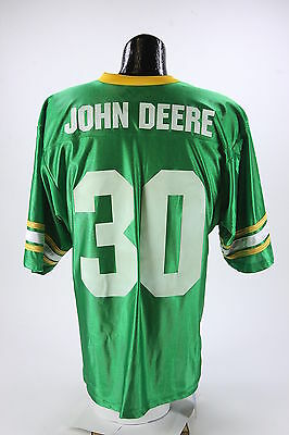 JOHN DEERE New With Tag Football Jersey Mens Size Lg Green White Yellow #30