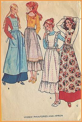 1970s Vintage Lovely Pinafore + Apron 4 Styles Sewing Pattern McCalls 2925 Large