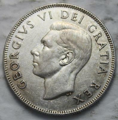 Canada 1948 Silver 50 Cents, Key Date KGVI, Nice Grade