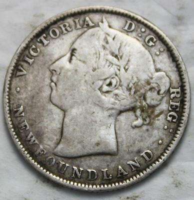 Newfoundland 1890 Silver 20 Cents, Old Date Queen Victoria