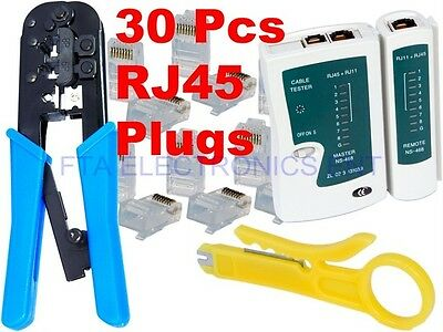 30 Plug Connectors LAN RJ45 CAT6 CAT5 Network Crimping Tool Cable Wire Stripper