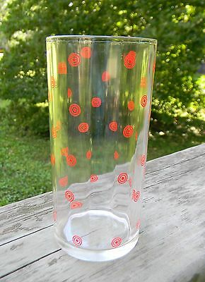 Vintage Large Swanky Swig Glass with Red Painted Circles and Dots