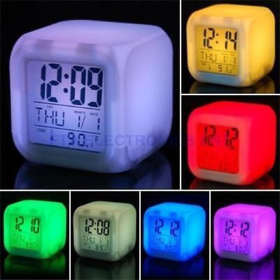 7LED Changing Color Change Digital Alarm Thermometer Clock with Date Thermometer