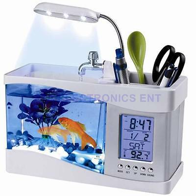 Mini USB LCD Desktop Aquarium Fish Tank Timer Calendar Clock LED Lamp Pen Holder