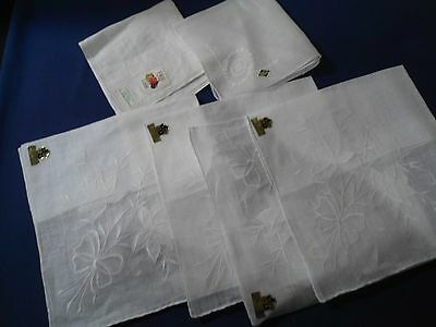 Vtg.lot 6 Womens White Hankies,all New With Tags