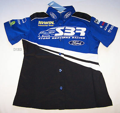 Stone Brothers Racing SBR Ford Ladies Raceteam Pit Crew Shirt Size 14 New