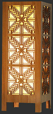 """ROBIE SCONCE Frank Lloyd Wright LIGHT BOX LAMP 15.5"""" Etched Wood USA MADE Lg"""