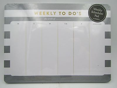 New Eccolo Weekly To Do's Scheduler Mousepad Note Pad Gray Stripes