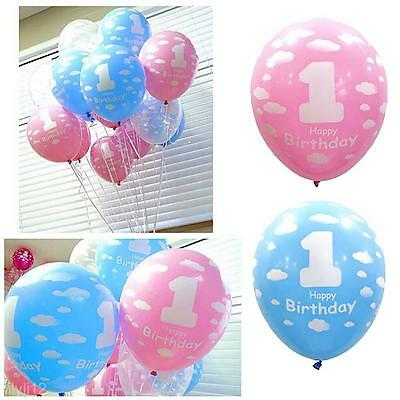 10Pcs 1st Pink Blue Clouds Happy Birthday Latex Balloon Party Decoration First