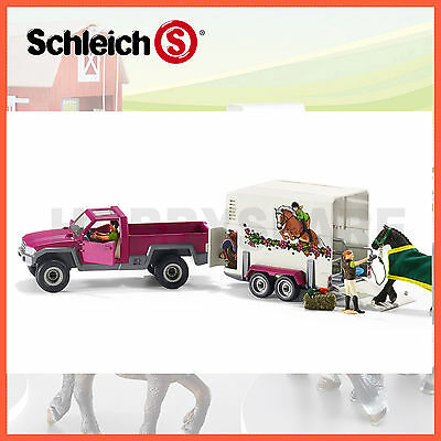 NEW SCHLEICH HORSE CLUB PICK UP TRUCK & BOX TRAILER with HORSE & FIGURES 42346