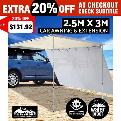 2.5X3M Car Side Awning Roof Top Tent & Extension Camper Trailer 4Wd 4X4 Camping