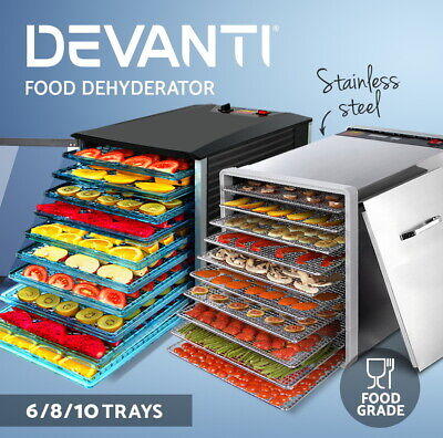 Devanti Food Dehydrator Commercial Stainless Steel Jerky Maker Fruit Dehydrators