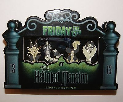 Disney 13th Haunted Mansion Busts Maleficent Jafar Captain Hook Cruella Pin Set