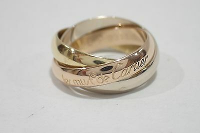 CARTIER 18K Tri-color Gold Trinity Ring size46