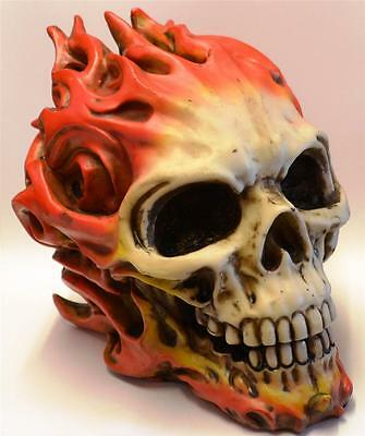 Nemesis Now 18x15cm FLAMING SKULL SCULPTURE Devil Skeleton Mythical Demon Skulls
