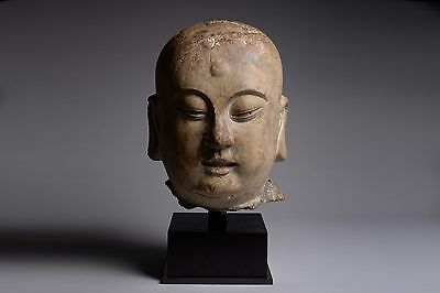 Ancient Chinese Song Dynasty Stone Head of a Lohan - 960 AD
