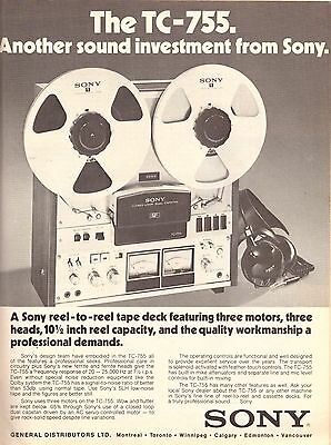 1974 Sony Tape Deck Recorder Cassette Print Advertisement Ad Vintage VTG 70s