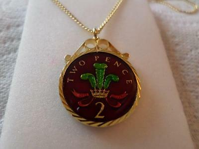 Vintage Enamelled Two Pence Coin Pendant & Necklace 1999. 18Th Birthday Present