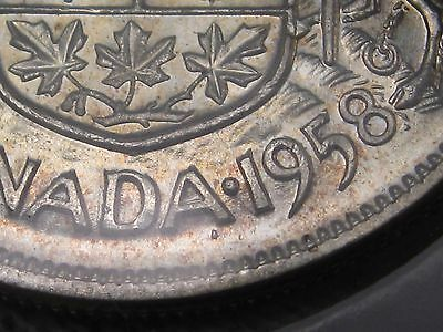 UNC 1958 DOT Variety Silver Canadian Fifty cent Half Dollar. 50c. CANADA. #9