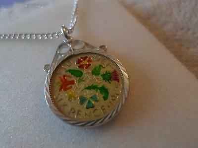 Vintage Enamelled Sixpence Coin Pendant & Necklace 1965. Xmas Birthday Present