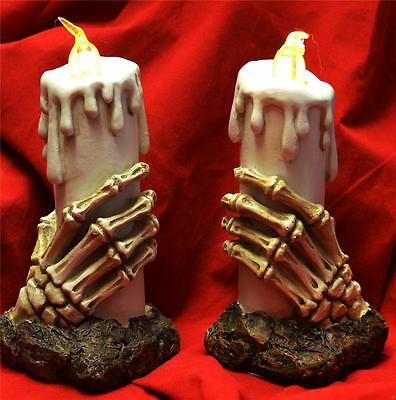 Nemesis Now 2 x GOTHIC SKELETON HAND LIGHT UP CANDLES Skull Candle