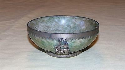 Antique Chinese Jade Silver Dragon Bowl