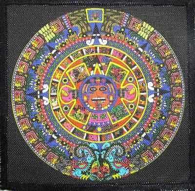 AZTEC CALENDAR - Mayan Calendar small - Printed Patch - Sew On -Jacket,Backpack