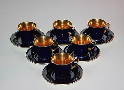 Crown Devon, Set Of 6 Cobalt Fully Gilded Demitasse Coffee Cups, Saucers.