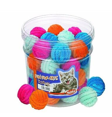40x Nobby Plush Ball With Bell Assorted Colours 4cm Cat Toys Treats Pet Shop
