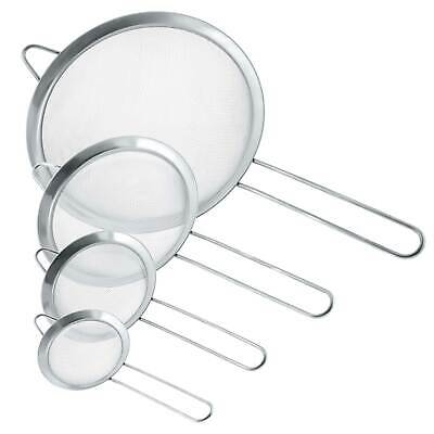 U.S. Kitchen Supply Fine Mesh Stainless Steel Strainer Set, 4 Sizes 3, 4, 5.5 8""