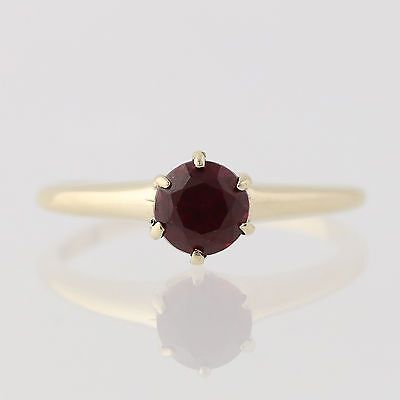 Vintage Synthetic Ruby Solitaire Ring - 10k Yellow Gold July Gift Fine .65ctw