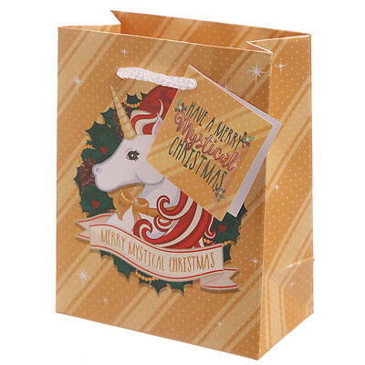 Christmas Unicorn Design Strong Small Glossy Card Gift Bag With Tag 14 x 11cm