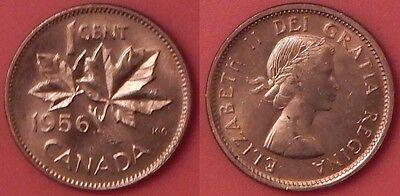 Brilliant Uncirculated 1956 Canada 1 Cent From Mint's Roll