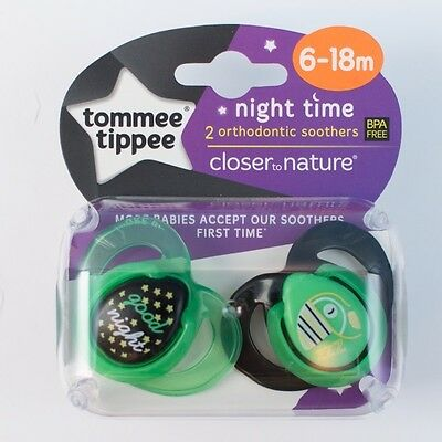 Tommee Tippee Closer To Nature Night Time Soothers  6-18m (Good Night)(2432)