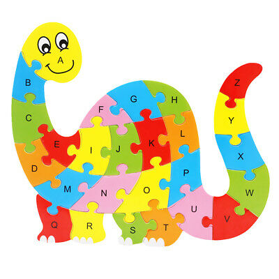 Colorful Dinosaur Wooden Alphabet Puzzle English Letters Kids Education Toy
