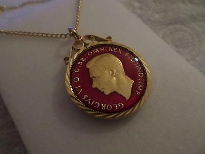 Vintage Enamelled Half Penny Coin Pendant & Necklace 1942. Xmas Birthday Gift