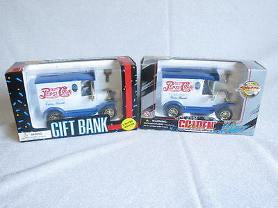 2 Pepsi Cola Delivery Truck Golden Classic Diecast Gift Banks Nib