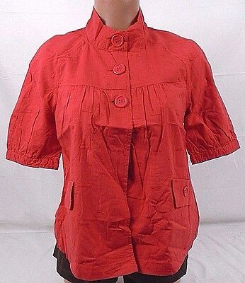 812e522c34b71 Tullette Button Up Bubble Print Baby Doll Womens Top TLJ7027 Red Medium 509C