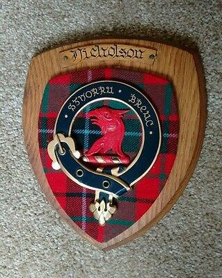 NICHOLSON Old Scottish Carved Oak Clan Coat  Arms Plaque Crest SGHORRA BREAC