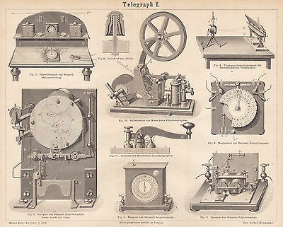 1879 Engraving Print Breguet Thomson Telegraph Devices