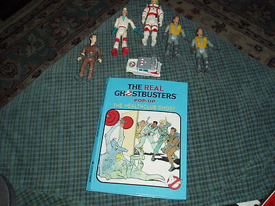 Vintage GHOSTBUSTERS POP-UP BOOK & Toy Figure Lot Of 7 Toys Collectors