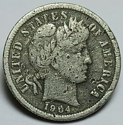 1904-S United States Silver Barber Dime - GOOD