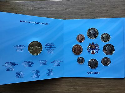 2010 Gibraltar 9 Coin Year Set includes £5 £2 £1 50p 20p 10p 5p to 1p BU UNC