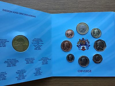 2013 Gibraltar 9 Coin Year Set includes £5 £2 £1 50p 20p 10p 5p to 1p BU UNC