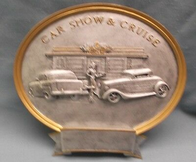 """car show & cruise resin oval plate plaque  trophy 8"""" size PDU"""