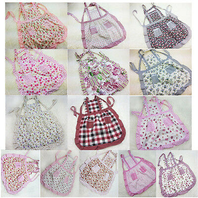 2014 New Women Kitchen Flower Printed Lace Cooking Cookware Cotton Apron