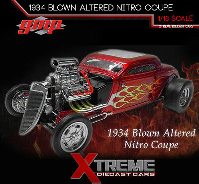 Preorder Gmp 18816 1:18 1934 Blown Altered Nitro Coupe Red Metallic W/ Flames