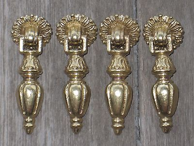 4 Antique Solid Brass Swivel Pull Handle Knobs for Dresser Drawer Cabinets